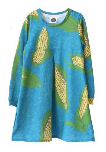 Modré šaty s potlačou kačíc pre dievčatá