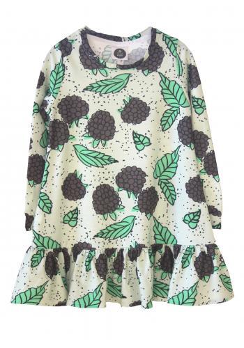Dievčenské šaty s potlačou kukurice v tyrkysovej farbe