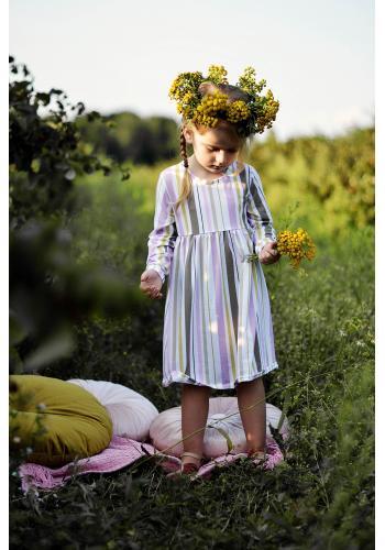 Biele šaty s potlačou ostružín a mäty s volánikom pre dievčatá