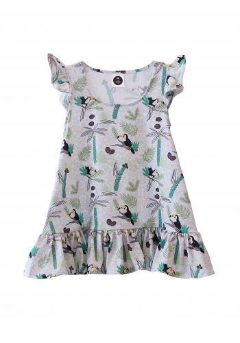 Dievčenské šaty s potlačou farebných jednorožcov v bielej farbe s bodkami a volánikom