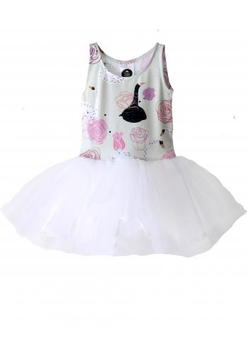 Dievčenské šaty tylové bez rukávu v mätovej farbe s motívom zmrzliny a mäty
