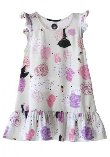 Sivé letné šaty na ramienka s motívom tropic a volánikmi pre dievčatá