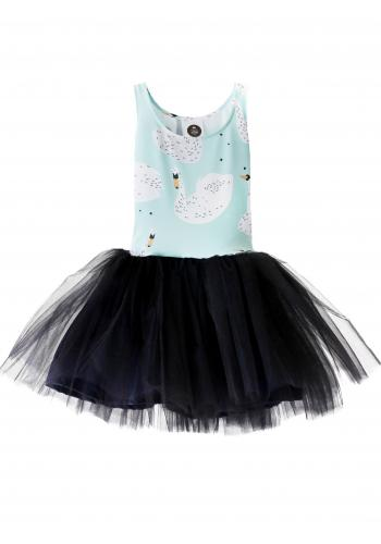 Dievčenské šaty tylové bez rukávu v bielej farbe s motívom labutí a ruží