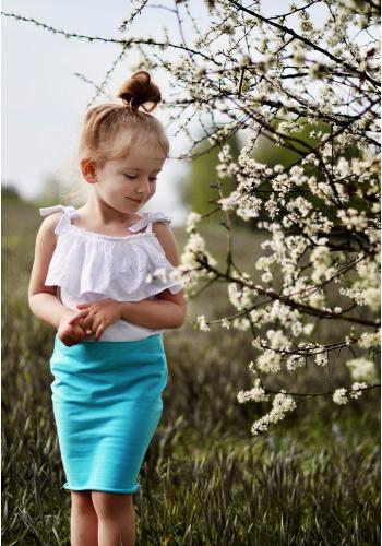 Dievčenská bavlnená sukňa v ceruzkovom strihu v ružovej farbe