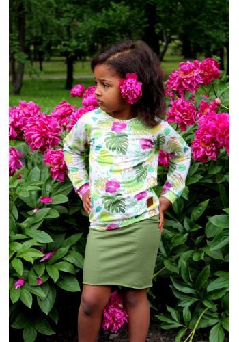 Dievčenská bavlnená sukňa v ceruzkovom strihu v tyrkysovej farbe
