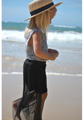 Dievčenská bavlnená sukňa v ceruzkovom strihu vo svetlo sivej farbe