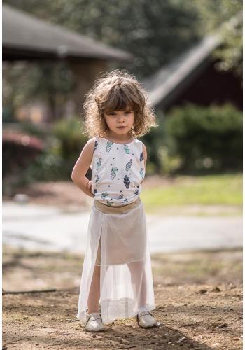 Čierna bavlnená sukňa so sieťovinou MAXI pre dievčatá