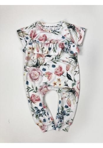 Zostava šiat pre mamu a dieťa s kvetovanou potlačou v bielej farbe