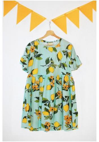 Mätová zostava šiat pre mamu a dieťa s motívom citrónov