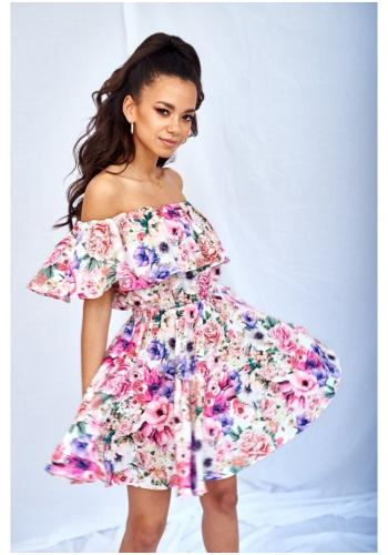 fcd81520a6 Dámske biele MINI šaty s odhalenými ramenami a volánikom s motívom kvetov  ...
