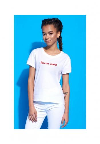 """Dámske klasické tričko s nápisom """" FOREVER YOUNG""""  v bielej farbe"""