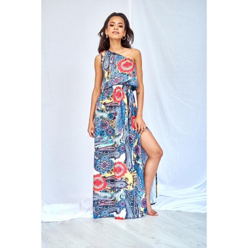 0d0d2fd8e Štýlové farebné MAXI šaty na jedno rameno s rázporkom a potlačou pre dámy