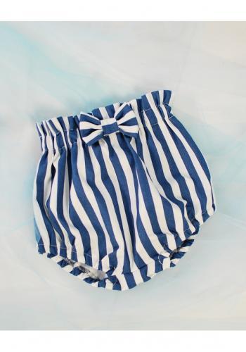 Modro-biele pásikavé kraťasy s mašľou pre dievčatá