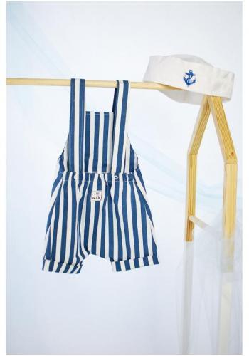 Detské modro-biele pásikavé kraťasy na traky