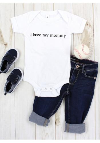 """Biele body s krátkym rukávom s nápisom """"I LOVE MOMMY"""" pre deti"""