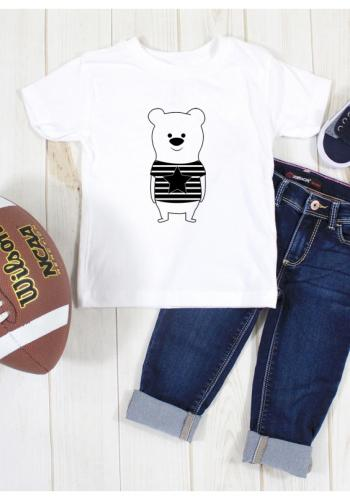 Biele tričko s potlačou medvedíka pre deti