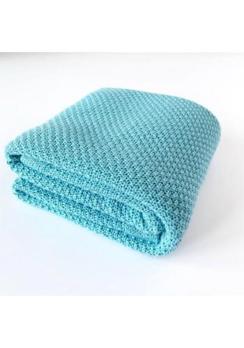 Modrá pletná deka - 100% Bambus