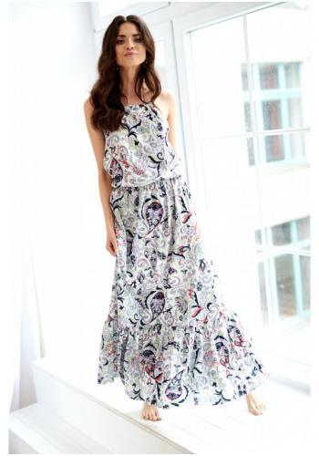 cd16fd99a1c6c Biele MAXI šaty s jemným vzorom a volánikom pre dámy ...
