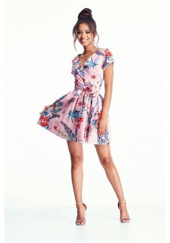d00265575 Dámske MINI šaty s obálkovým výstrihom v ružovej farbe s motívom kvetov ...