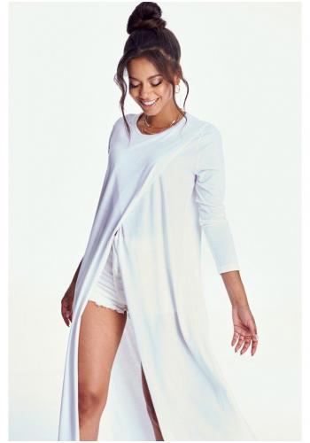 Pohodlná dámska dlhá tunika s dlhým rukávom v bielej farbe