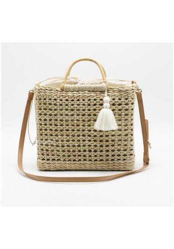 Béžová prútená kabelka s vnútorným vreckom pre dámy