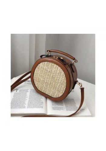 Hnedá prútená kabelka s ekokožou pre dámy