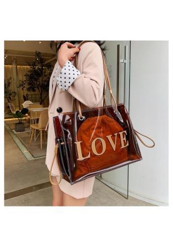 Priesvitná dámska taška hnedej farby s nápisom LOVE