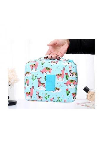 Kozmetická taška modrej farby s farebnou potlačou