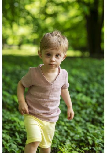 Detské bavlnené tričko natural v staroružovej farbe
