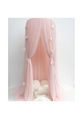 Detský tylový baldachýn v ružovej farbe s korunou