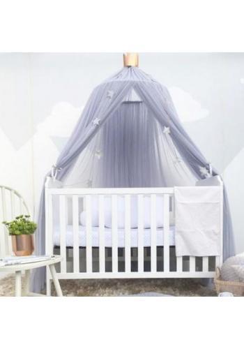 Detský tylový baldachýn v sivej farbe s korunou