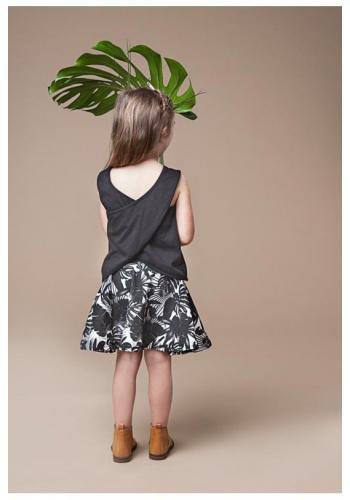 Biela sukňa s potlačou čiernych listov pre dievčatá