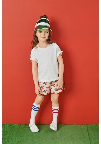 Krátke šortky s potlačou rybiek v krémovej farbe pre deti