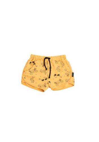 Krátke detské kraťasy v žltej farbe s potlačou leta