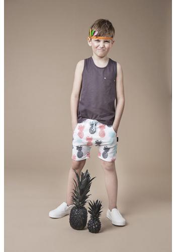 Biele krátke kraťasy s motívom farebných ananásov pre deti