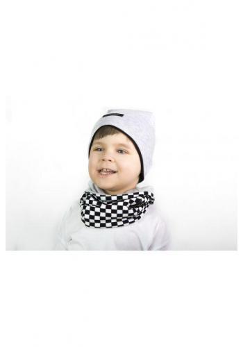 Detská obojstranná šatka na krk - sivá/šachovnica
