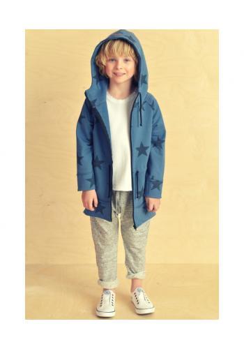 Modrá parka/mikina s kapucňou na zips s motívom hviezd pre deti