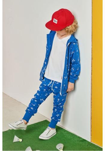 Detské tepláky s motívom SWIMMER v modrej farbe