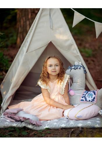 Vodeodolný detský stan sivej farby s podložkou a girlandou