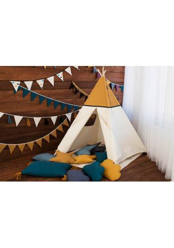 Stan pre deti béžovo-horčicovej farby s podložkou