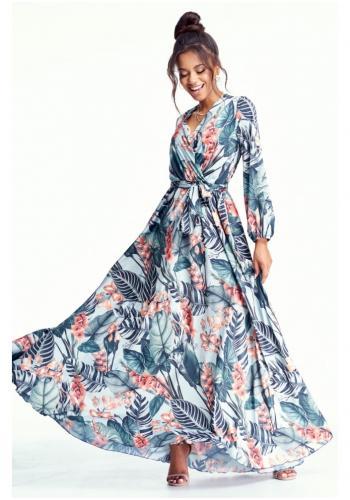 Farebné MAXI šaty na viazanie s dlhým rukávom a krásnou potlačou pre dámy