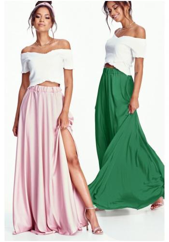 Dámska zelená MAXI sukňa s rázporkom