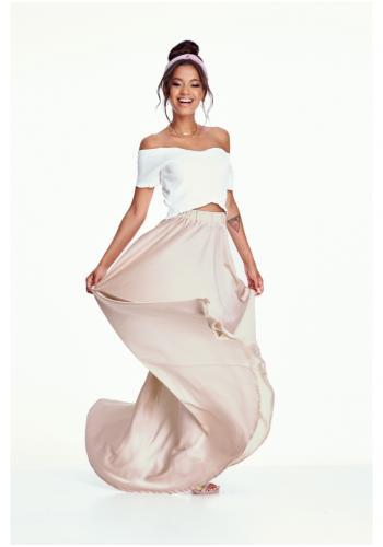 Štýlová béžová MAXI sukňa s rázporkom pre dámy