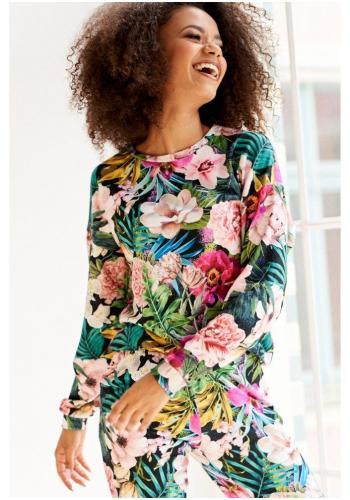 Štýlové bavlnené tepláky s potlačou farebných kvetov v čiernej farbe pre dámy