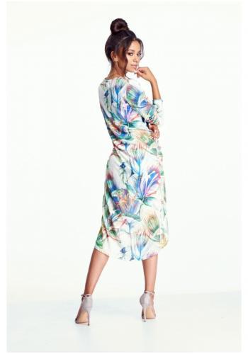 Štýlová predĺžená tunika s dlhým rukávom v bielej farbe s farebným motívom pre dámy
