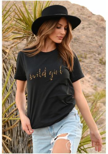 """Čierne klasické tričko s nápisom """"WILD GIRL"""" pre dámy"""