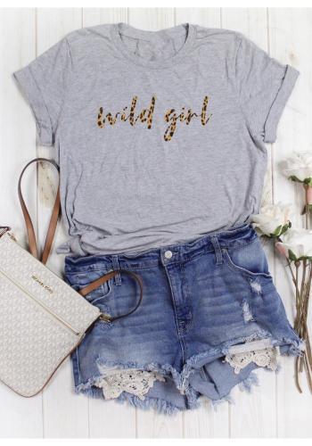 """Dámske klasické tričko s nápisom """"WILD GIRL"""" v sivej farbe"""