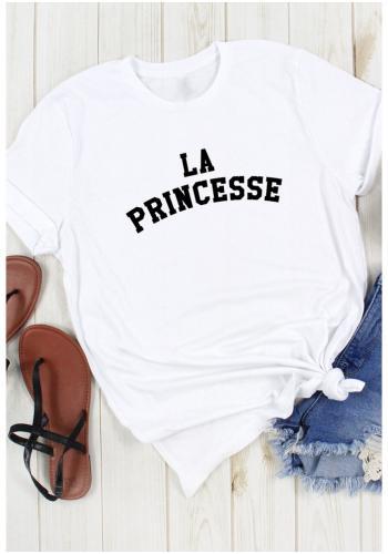 """Dámske klasické tričko s nápisom """"LA PRINCESSE"""" v bielej farbe"""