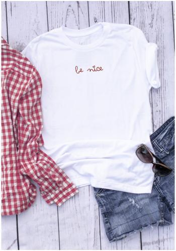 """Dámske klasické tričko s nápisom """"BE NICE"""" v bielej farbe"""