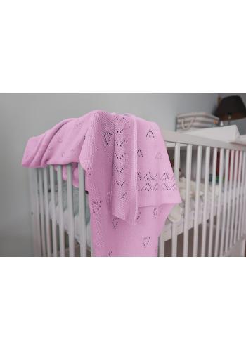 Svetlo ružová pletená deka
